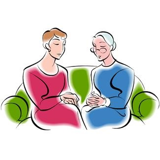 eldercare conversation with daughter and aging parent