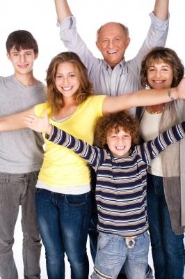 happy family with senior relative