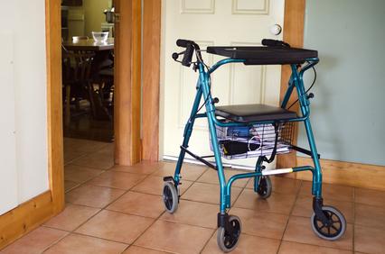 a walker in senior housing