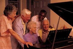 group around piano