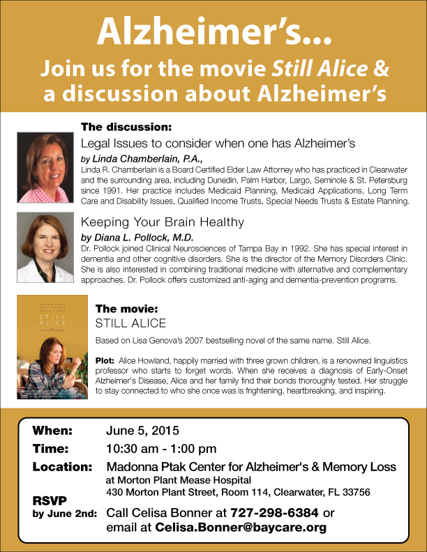 Alzheimer's Education seminar and movie screening