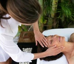 Mom enjoying a facial massage